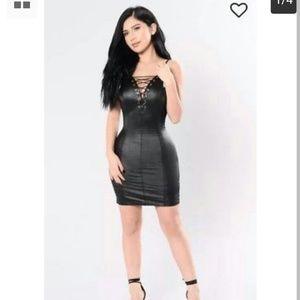 Fashion nova leather mini dress.